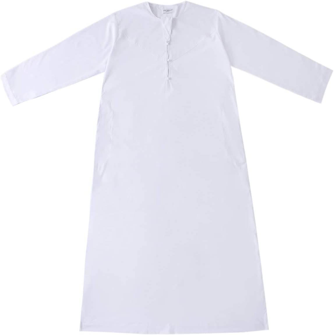 FENICAL Muslim Robe Long Sleeve Robe Arab Muslim Robe Middle Eastern Robe Clothes for Men Male (White Size L)