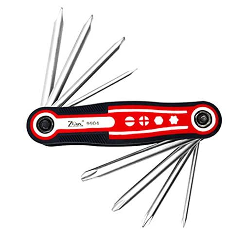 Juego de destornilladores plegables - Juego de herramientas plegables 8 en 1 Mini Phillips, kit de puntas de destornillador hexagonal ranurado, herramientas manuales mantenimiento(Phillips ranurado)