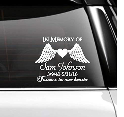 In Memory of Car Decal Memorial- Angel Wings