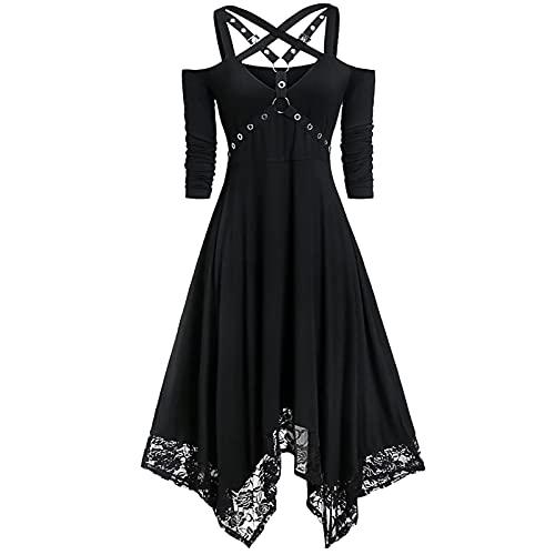 Frauen Kleid Halloween Party offene Schulter Spitze Halbhülse Kleid Plus Größe (Color : A, Größe : 5XL)