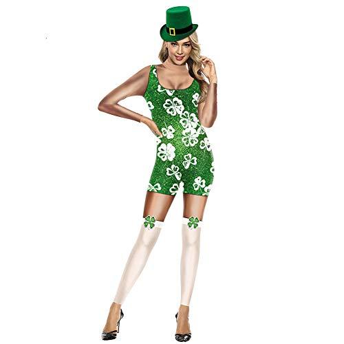 ISSHE Irlanda Disfraces Irlandeses con Sombrero Mujeres Mono Estampado Abrigos de Rendimiento Ropa de Lujo 98 XL
