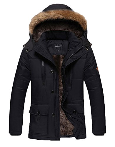 HENGJIA Men's Winter Warm Fleece Lined Coats with Detachable Hooded Windbreaker Jacket Black US Small(Asian XL)