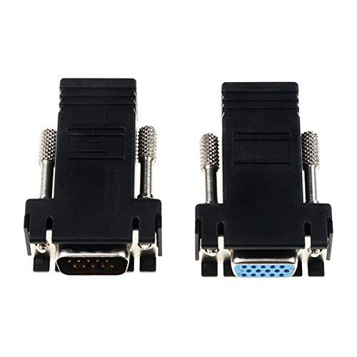 BoaInx Cable de Red con RJ45 a VGA Extender Male a LAN CAT5 CAT6 RJ45 Red Ethernet Cable Adaptador Femenino Adaptador Femenino Interruptor Extra Convertidor para Internet