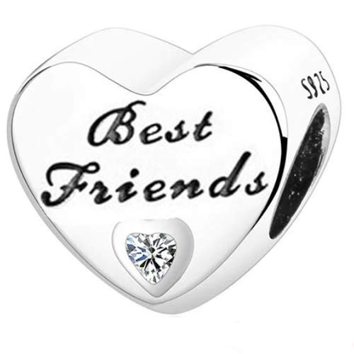 EMELIES Family Heart Charms. A Perfect Charm for your Mum, Dad, Daughter, Sister, Auntie, Cousin, Nan, Wife, Girl Friend and Best Friend. Charm Fits Pandora & All European Bracelets (Best Friends)