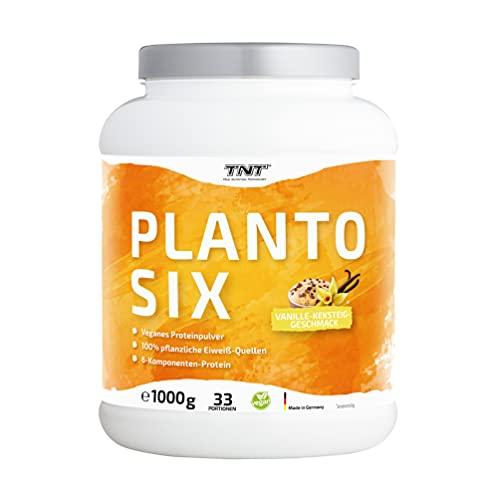 TNT Planto Six • 1 kg Vegan Protein • Veganes Proteinpulver aus Erbsen, Hanf & Lupinen • 6-Komponenten Protein (Vanilla-Cookie-Dough)