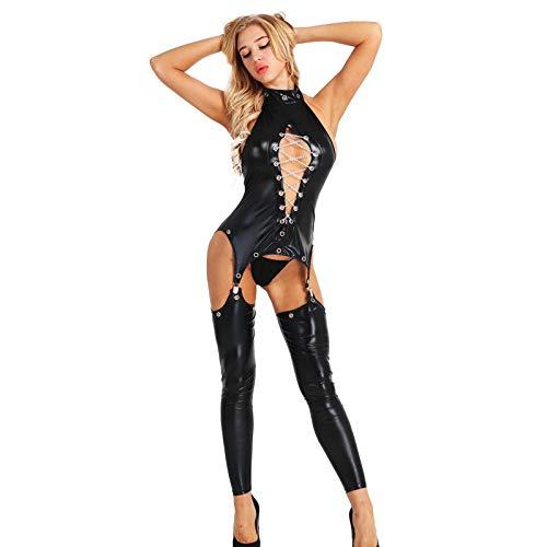MSemis Babydoll Donna Lingerie Pelle Sexy Hot per Sesso Aperto Perizoma Body con Reggicalze Giarrettiere 4 Clip Calze Lunghe Catena Metallo G-String Tuta Intera Nero M