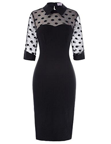 Women 3/4 Sleeve Lapel Collar 50s Retro Polka Dots Pencil Dresses Black,Size S 1960's Womens Accessories Belt
