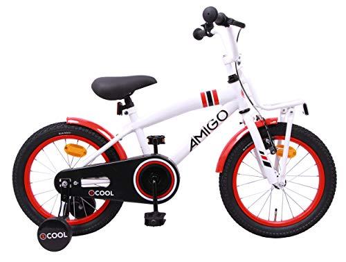 Amigo 2Cool - Vélo Enfant pour garçons - 14 Pouces - avec Frein à Main, Frein à rétropédalage, Porte-Bagages Avant et stabilisateurs vélo - à partir de 3-4 Ans - Blanc
