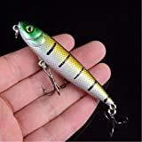 qkdop 1Pcs Minnow 8Cm 8.6G Señuelo de Pesca Vib Wobbler Plástico Artificial Pluma Crankbait Tackle Pesca