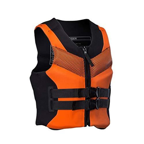 Pulley Traje de Neopreno de Neopreno,Comfort Chaleco Salvavidas,Deportes acuáticos Waterski Jetski Wakeboarding Safety Impact Vest,para Nadar Canotaje Kayak Piragüismo Unisex Adulto,Naranja,L