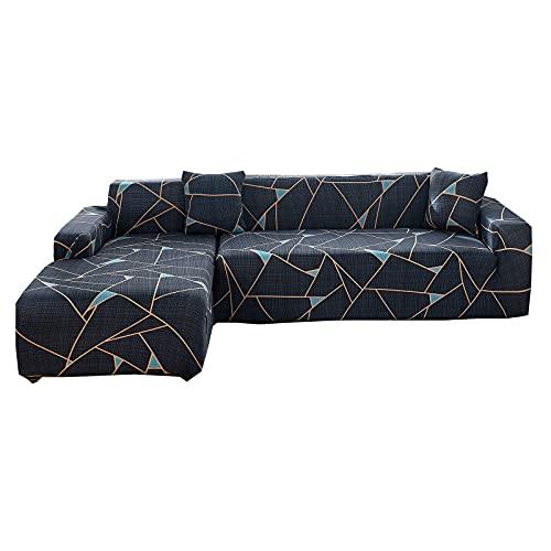 ZHFEL 2 Piezas Funda de Sofá Impreso,Funda elástica para sofá Forma de L Universal Protector para Muebles Antideslizante Lavable Spandex Cubre Sofa para Sala Combinación Sofá-2+3 Plaza-N