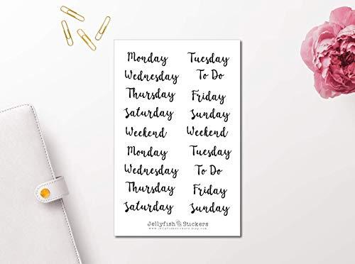 Skript Sticker Monate, Wochentage, Zahlen | Sticker Buchstaben, Wörter | Planer Sticker Bullet Journal Sticker, Schrift, Kalligraphie
