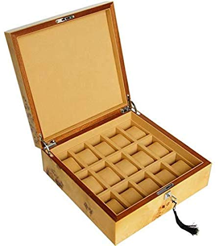 TNSBH De espesor 15-Slot vitrina de almacenamiento caja de regalo reloj de madera de almacenamiento for el regalo de los hombres for los hombres desmontable Mat bandeja for hombre con asistencia, relo
