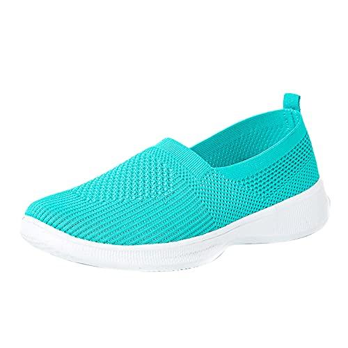 URIBAKY - Zapatillas de deporte transpirables de verano para mujer, de malla para exteriores, running en carretera, correr, fitness, transpirables, Verde (verde), 37 EU
