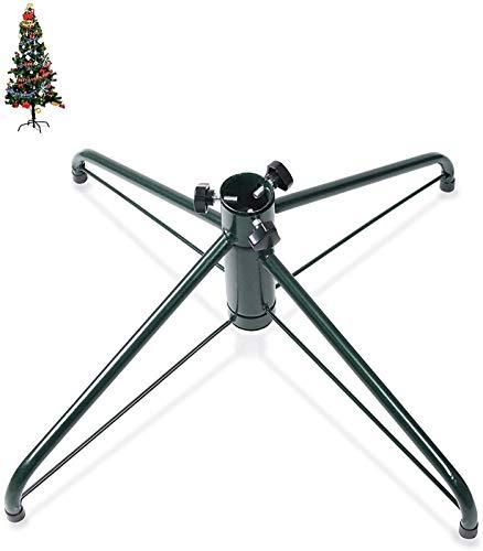 IWQTO 25.6 Pulgadas 1.25' Dia árbol de Navidad Stand 4 Pata de la Base de Hierro Soporte metálico de la Almohadilla de Goma con Tornillo de Pulgar (Color : Green)