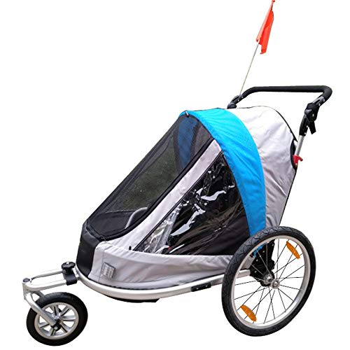 New 2-in-1 Double 1 Seat Bicycle Bike Trailer Jogger Stroller for Kids Children | Foldable Collapsible W/Pivot Front Wheel Converts to Stroller/Jogger (Color, Size : Free Size)