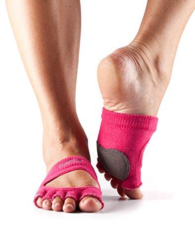 Toesox Calcetines unisex agarre de cinco dedos, Unisex, Five Toe Dance Grip Calcetín, YTOENTRELEVEF-M, fucsia, Medium