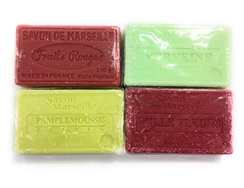 Lot de 4 savons de Marseille à l'huile végétale, 4x100g - senteurs: Fruits rouges, verveine, pamplemousse, Mille fleurs