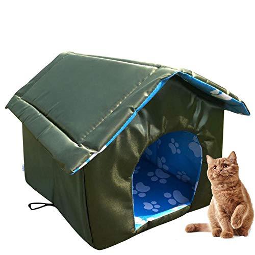 QWET Nido para Mascotas Al Aire Libre, Tienda para Mascotas Desmontable Acolchada Impermeable, Adecuada para Perros Y Gatos, S-L,Verde,L