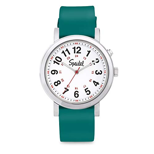 Speidel Scrub Glow Watch for Medical Professionals with Scrub Matching Green Silicone Band, Easy to Read Light Up Dial, Second Hand, Military Time for Nurses, Doctors, Students