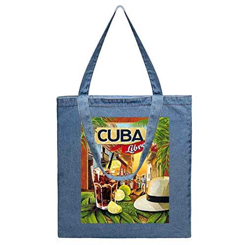 カクテルのギフトアイデア-デニムトートバッグクラフト、ショッピング、食料品、本、ウェルカムバッグ、おむつバッグ、ビーチ、再利用可能なトートバッグ