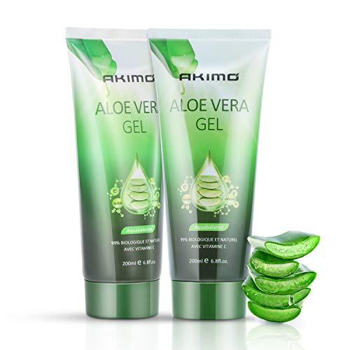 AKIMO Gel de aloe vera y vitamina C, E - 99% pura planta profundamente hidratante, reparadora, después del sol, hidratación de la piel seca, acné, apto para rostro, 200 ml / 6.8 fl oz, paquete de 2