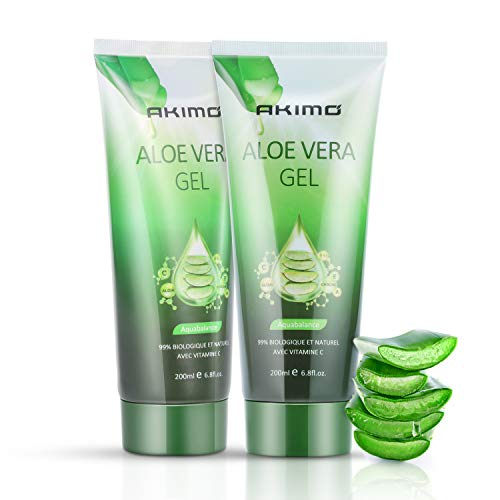 AKIMO 99% Gel d'Aloe Vera Bio - 2Pcs Crème Hydratante Naturelle, Hydratant pour Visage Corps Cheveux, Soins pour les Coups de Soleil, Réparer les Cicatrices, Apaisant et Anti-inflammatoire