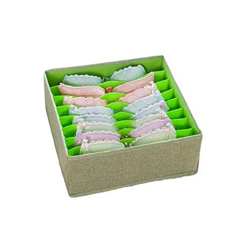 Caja de almacenamiento de ropa interior, algodón Lino prueba de humedad organizador de calcetines divisores de almacenamiento divisores de cajones organizador de ropa A-3