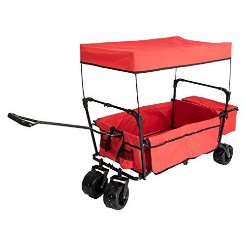 Grafner Bollerwagen Offroad mit Dach, faltbar, 100 kg Tragkraft, mit 2 Netztaschen & XXL Außentasche und extra Breiten, geländegängigen Schwerlast-Reifen, entnehmbare Plane, ideal für Ausflüge, Stand