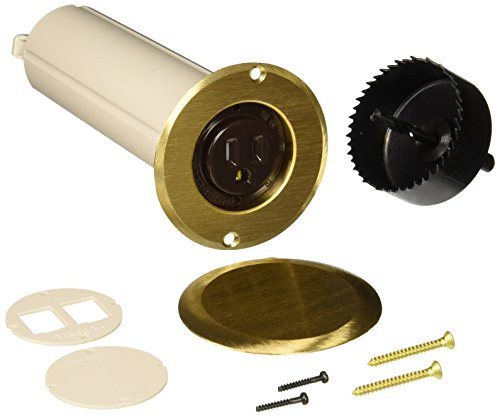 Hubbell Raco 6RF151SR Round Nonmetallic Drop-in Floor Box Kit, Single Tamper Resistant 15A Receptacle & 2-1/2-Inch Hole Saw, Includes Flange, Brass