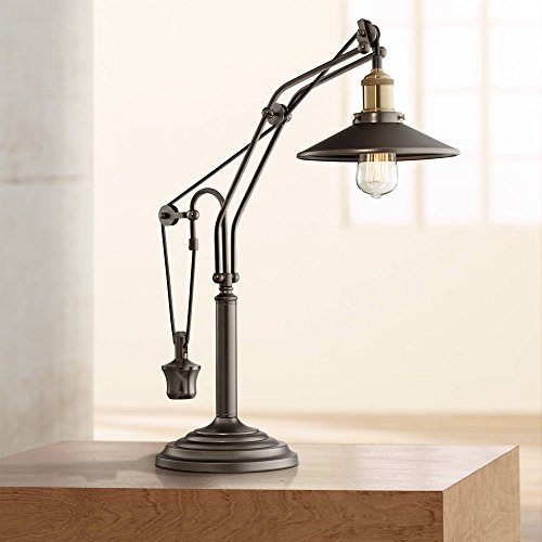 Emile Farmhouse Industrial Desk Lamp Oiled Rubbed Bronze Brown Metal Shade Antique Edison Bulb Decor for Living Room Bedroom House Bedside Nightstand Home Office Reading Family - Franklin Iron Works