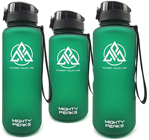 MIGHTY PEAKS Tritan Great Sports Water Bottles 34oz | Leak-Proof BPA Free Water Bottle-s | Water Bottle 1 Liter | Green | Gym Water Bottle for Kids, Adults, Sports, Hiking, Yoga, Crossfit