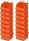 BRIMIX pack 16 pc Cajas de tornillos para panel tablero perforado con ganchos de acero. Estante compartimento organizador de banco de trabajo para organizar herramientas, accesorios, recambios, etc