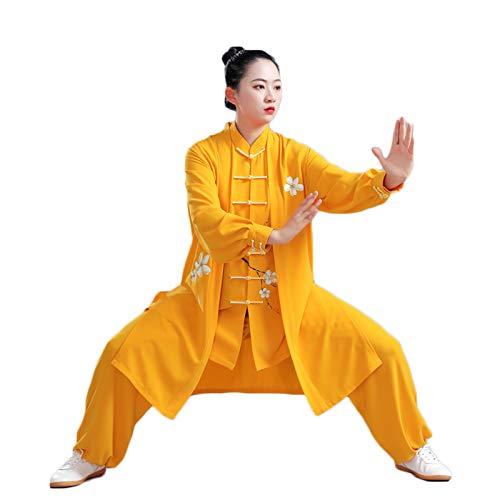 LHMYHHH Perlbaumwolle Handbemalte Birnenblüte Tai Chi Uniformen Tai Chi Kung-Fu Taiji Tang Anzug Morgenübung Kleidung Kleidung Kampfkunst Kleidung Kleidung Unisex,Ewha Three Piece Suit,XS