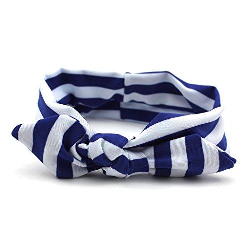 1pc Bleu Aimable Oreille de Lapin Bande de Cheveux à Rayure Fille Bandeau Serre-tête