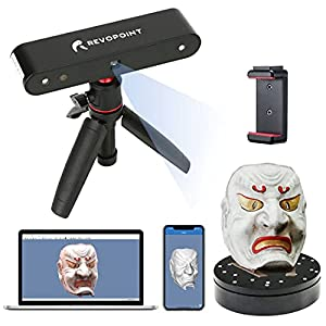 Revopoint POP 3D Scanner with Turntable 0.3mm Accuracy 8 Fps Scan Speed Desktop and Handheld Fixed/Auto Scan Mode for Face and Body Scanning Modes for Color 3D Printing