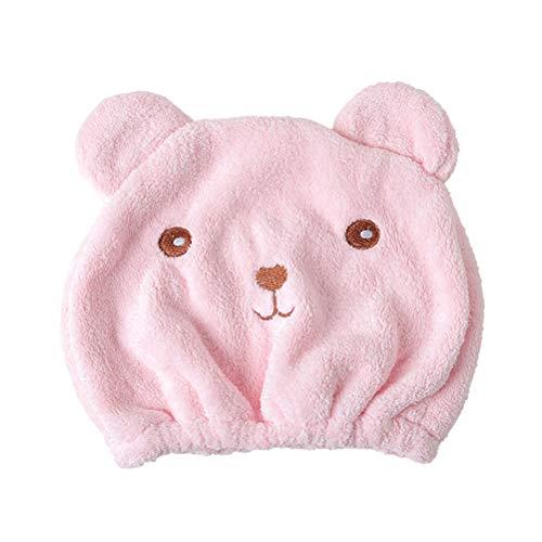 Frcolor Haardrogende handdoek droog haar kap sneldrogend haar handdoek wikkelen kat oor turban (roze)