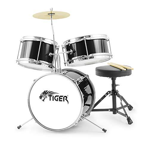 Tiger Junior Kinder-Drumkit, 3 Teile, für Anfänger, Kinder-Drumset mit Snare, Tomtom, Bass-Drum, Bass-Drum-Pedal, Cymbal, Sitz und Sticks - Schwarz -, JDS7-BK