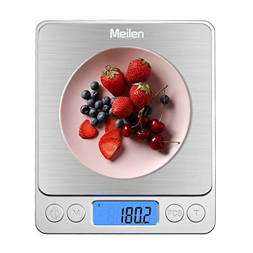 Meilen Balance Cuisine, Balance de Precision, 2000g/0.1g Balance Portable avec Fonction Tare et Compte, Écran LCD Rétroéclairé,pour Les ingrédients,Bijoux,café (2000g/0.1g)