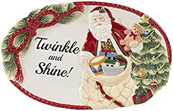 Fitz and Floyd Night Before Christmas Sentiments Tray, Multi Color