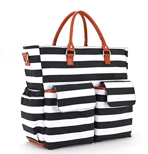 MODERNGENIC Designer 3-in-1 Tote Diaper Bag Set, Fashion Striped Black & White Design with Many Pockets (Includes Changing Pad, Insulated Bottle Holder, Shoulder and Stroller Straps)