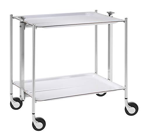 Platex Textable 500250001 Table Roulante 2 Étages Blanc Chromé