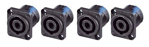 NEUTRIK® NL4MP 4-polig Speakon® quadratisch Chassis Sockel 25 x 30 mm Flansch 4 Stück