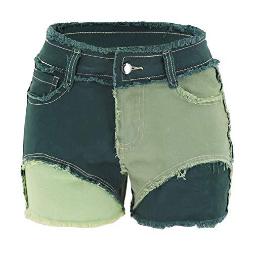 Bnrsyku Pantalones vaqueros cortos de patchwork, para mujer, de color bloque, informales, cintura media, elásticos, pantalones cortos Bell Bottom Raw verde L