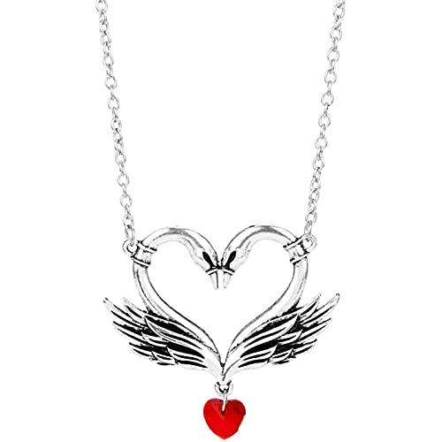 HNSXN Retro Cisne Collar Colgante corazón Cristal zhu XI Amor Beso Gifts Regalos