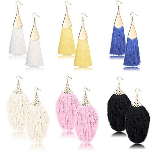 Milacolato bunte Fransen Feder Quaste baumeln Ohrringe für Frauen Mode schwarz gelb rot weiß lange Anweisung Quaste Ohrring Set