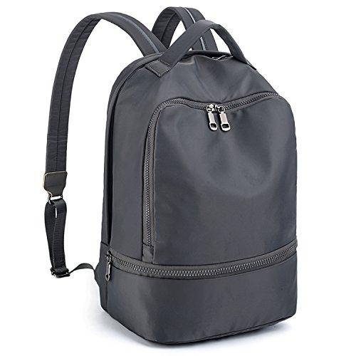 UTO Fashion Nylon Backpack Functional School Gym Sport Hiking Bag Reflective Straps C Grey