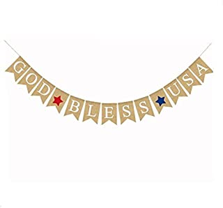 BinaryABC 4th of July Burlap Banner,Independence Day Garland Bunting Banner,Fourth of July Decorations, Memorial Day Veterans Day Photo Prop Sign,