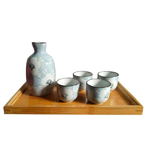 PIVFEDQX Exquisito Juego De Tazas De Sake Japonés 5 Artesanías con Diseño De Copo De Nieve Único Y Bandeja De Sake con Bandeja De Bambú Son Los Mejores Regalos para Familiares Y Amigos 8.6