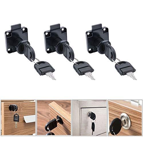 JACKBAGGIO - Set di 3 serrature galvanizzate per cassetti, armadietti, armadietti, comodini, armadietti con chiavi da 16 mm e 19 mm, colore: nero e argento, Nero, 19 mm